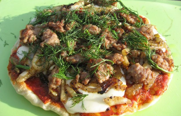 Sausage and Fennel Grilled Pizza Over Campfire