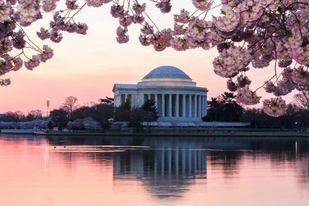 Jefferson Memorial at dawn in Washington D.C.   Best Campgrounds In The U.S.