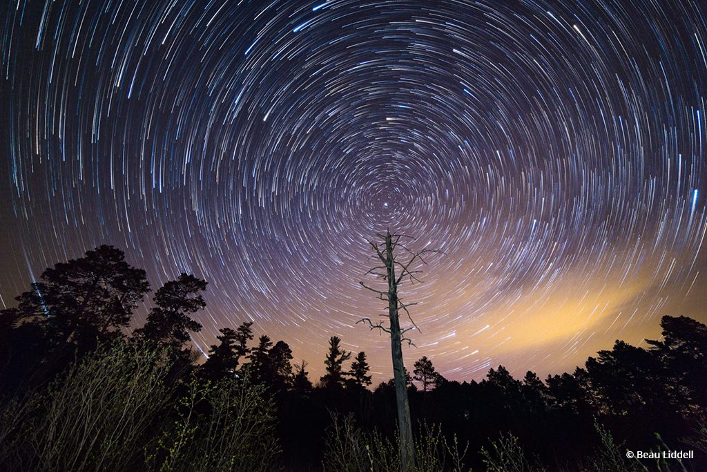 "Today's Photo Of The Day is ""Dorace Lake Star Trails"" by Beau Liddell. Location: Itasca State Park, Minnesota."