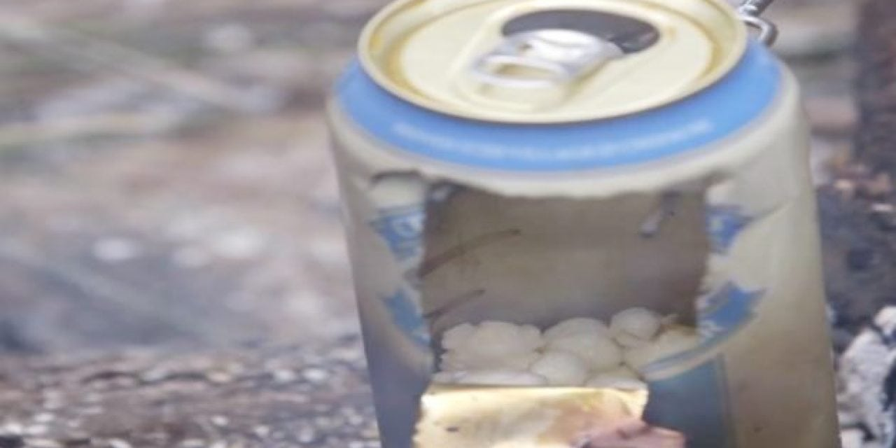 Campfire Popcorn Hack: Using An Empty Beer Can?