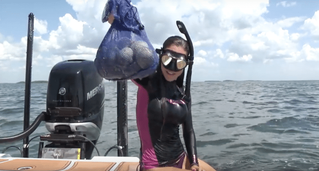 Video learn the basics of scalloping with luiza outdoor for Fishing with luiza