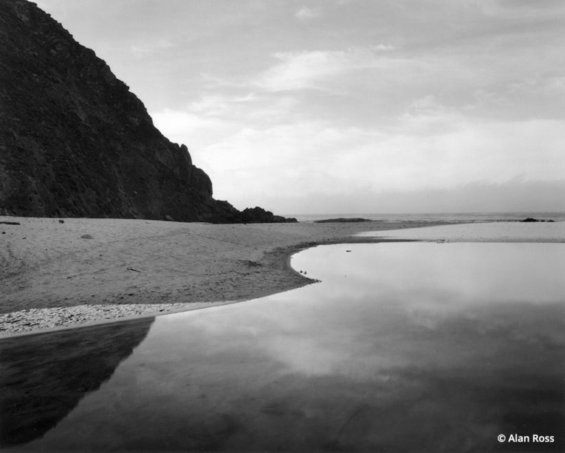 black-and-white lagoon at Pfeiffer State Beach