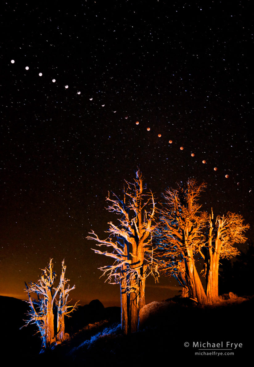 Photographing a lunar eclipse in Yosemite, California