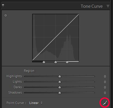 processing night photography: tone curve
