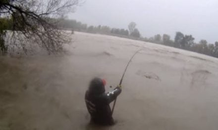 Tough Angler Braves Flood-Swollen River to Catch Catfish
