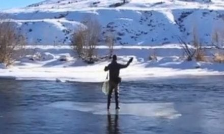 Fly Fishing from a Sheet of Floating Ice? Well, Why Not?