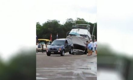 Video: SUV Gets Up on 2 Wheels Trying to Retrieve Boat