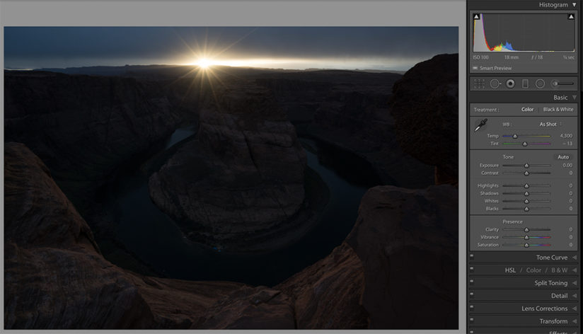 horseshoe bend example of how to use histograms