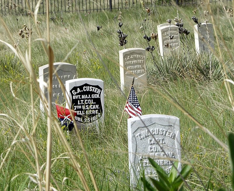 The Custer brothers' markers on Last Stand Hill.