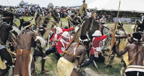 re-enactment of the Isandlwana fight