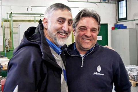 Paul Mihailides (left) with Paulo Peli at the Famars factory.