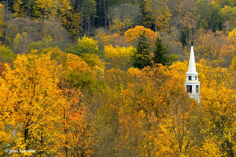 Fall color photo tips: Above and overlooking Middletown, Vermont.