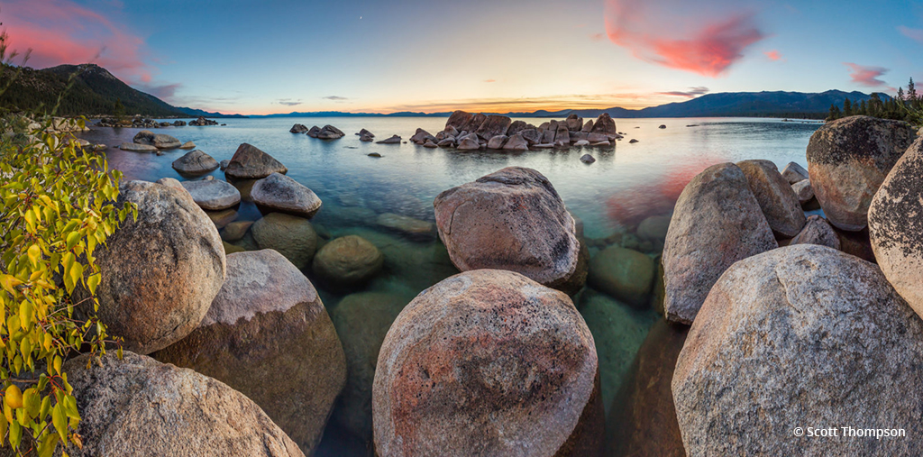 "Today's Photo Of The Day is ""Tahoe Boulders at Sunset 18"" by Scott Thompson. Location: Hidden Beach, Lake Tahoe, Nevada."