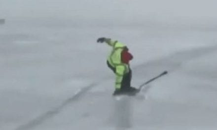 Video: Ice Fishermen Go for a Windy Ride