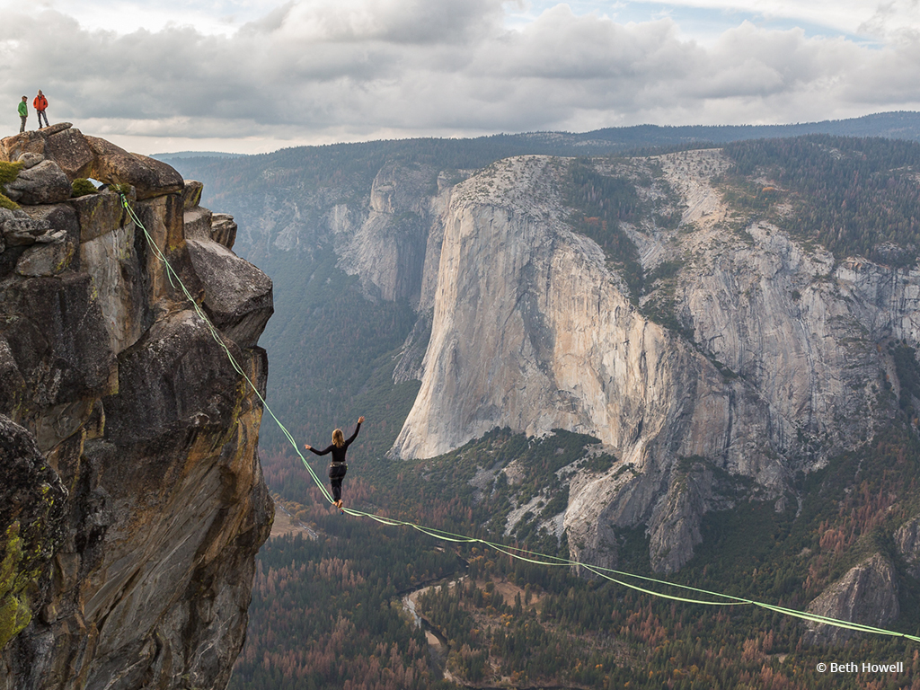"""Congratulations to Beth Howell for winning the Adventure Photography Assignment with the image, """"Taft Point Slacklining."""""""