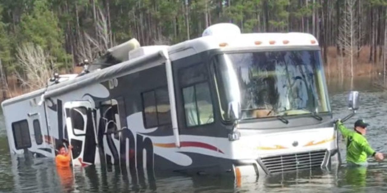 Dog Backs Professional Fisherman's 38-Foot RV Into Lake