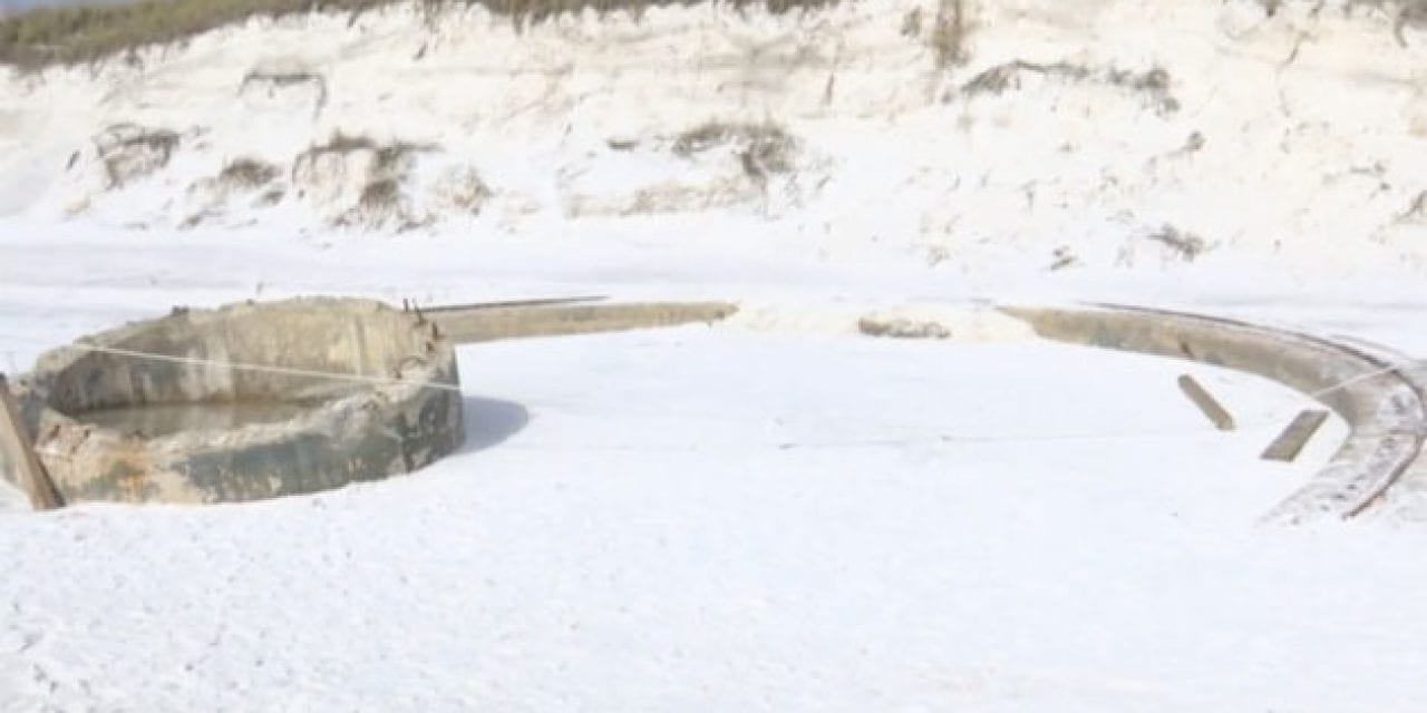 WWII Gun Mount Uncovered on Florida Beach