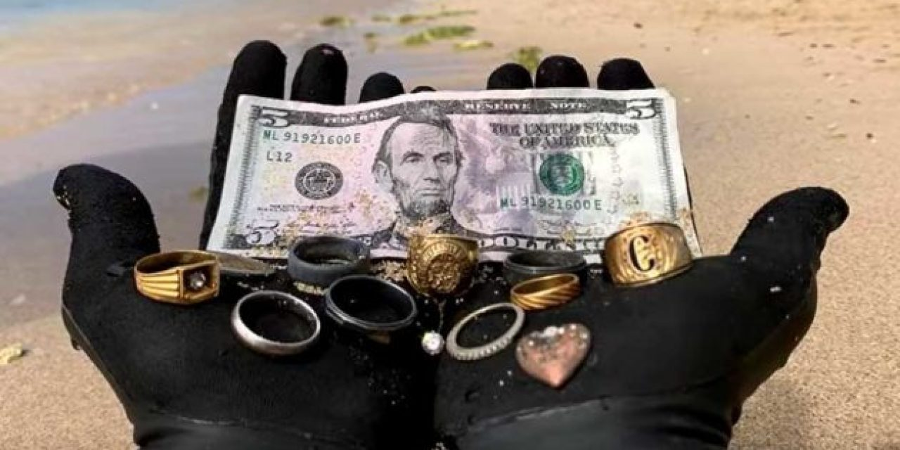 This Treasure Hunter Found 9 Rings Underwater with His Metal Detector