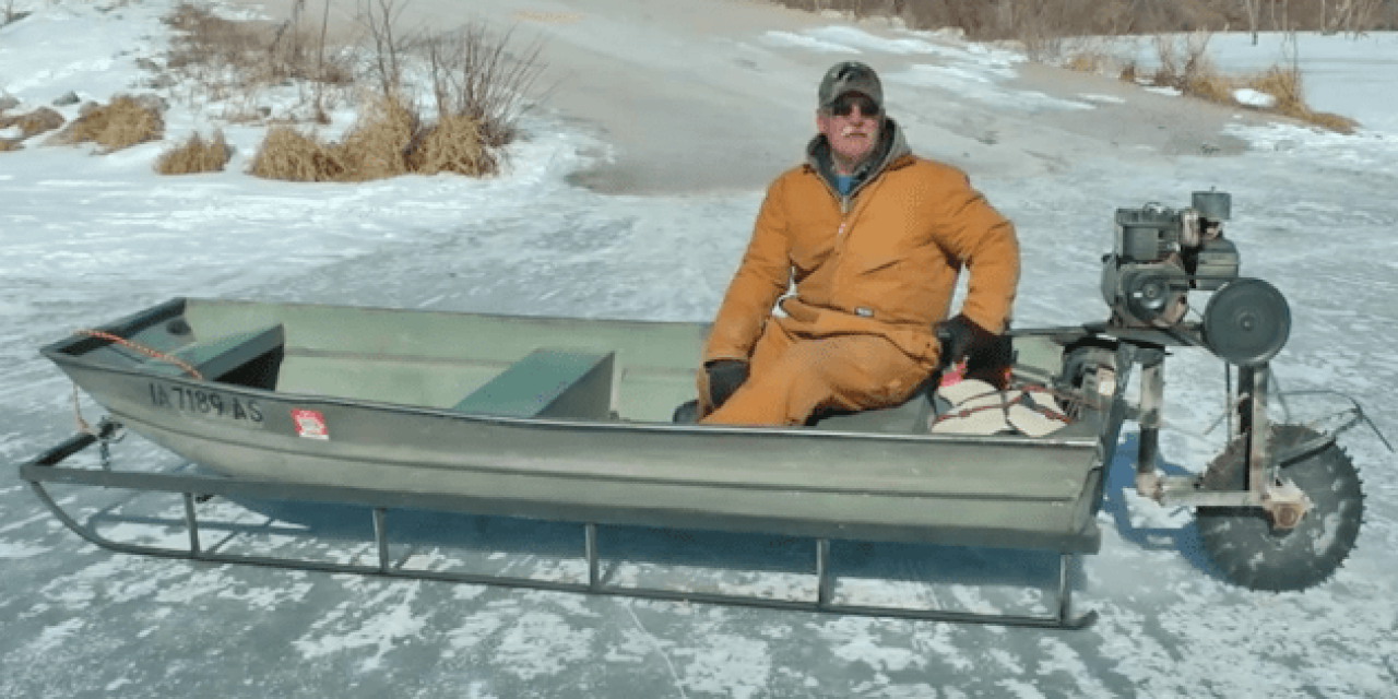 The Saw-Blade Driven Ice Sled Machine is the Greatest DIY Project of the Winter