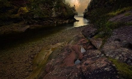 The Milky Way Through A River Gorge