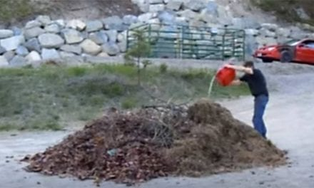 Leaf Pile and Gasoline Combine for Big Boom, Quick Clean Up