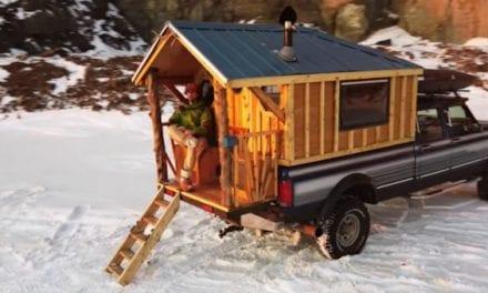 Man Builds Incredibly Cozy Tiny Cabin in Pickup Truck Bed