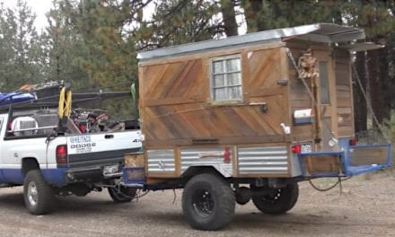Construction Worker Lives Off-Grid in Tiny Homemade Camper for Four Years Rent Free