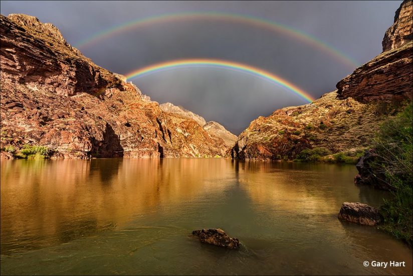 rafting Grand Canyon double rainbow photo