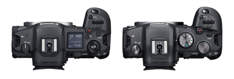 Image of the top of the Canon EOS R5 and EOS R6