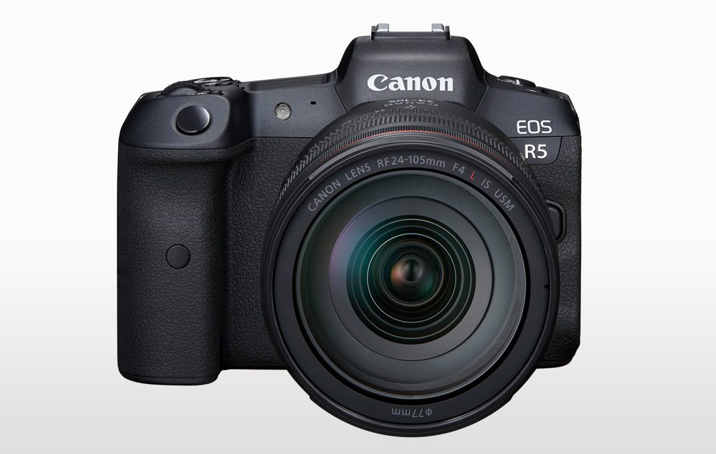 image of the front of the Canon EOS R5