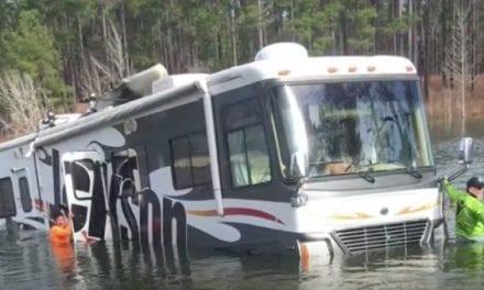Dog Backs Professional Fisherman's 38-Foot RV Into Lake