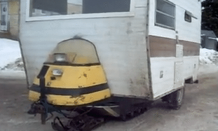 Only in Canada: Snowmobile-Powered Ice Fishing Camper