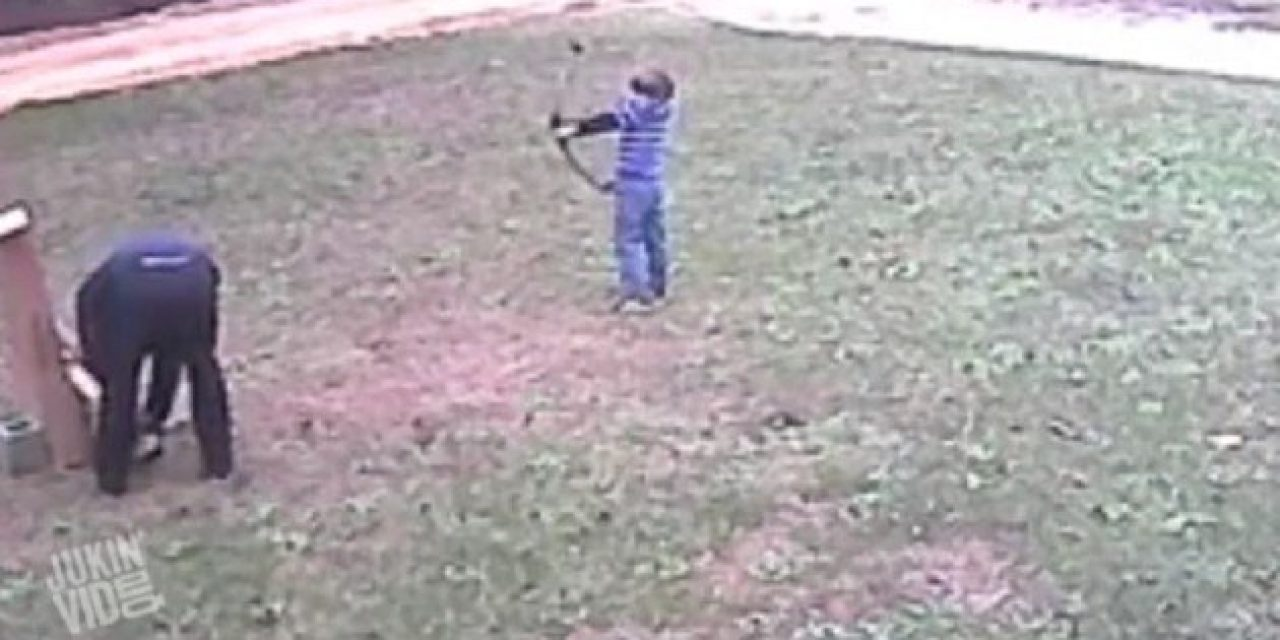 Archery Lesson Goes Wrong When Kid Takes Aim at His Dad
