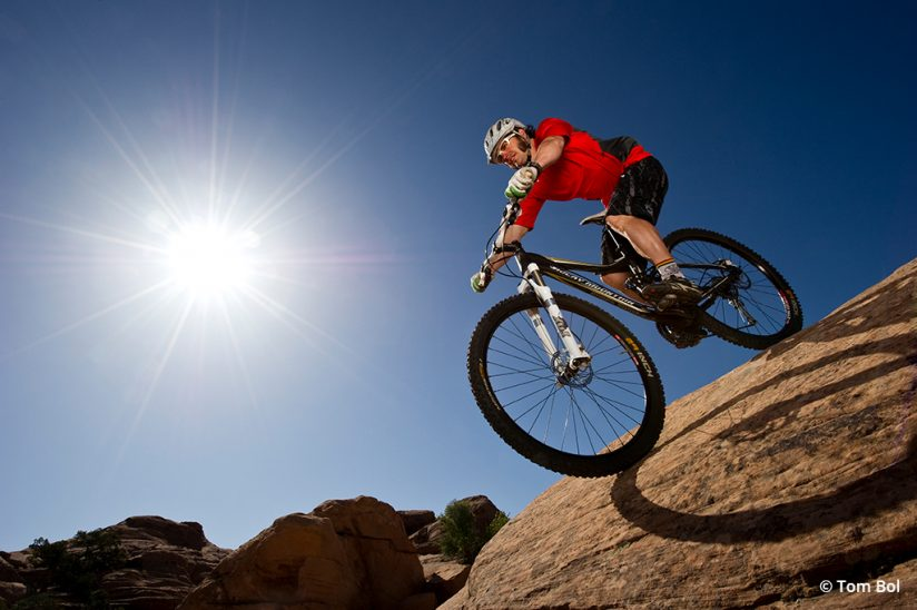 adventure sports photography, image of a mountain biker