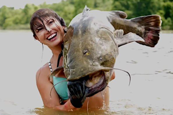 Hannah Barron Noodles Up 40-Pound Flathead and 60-Pound Blue Catfish in the Same Day