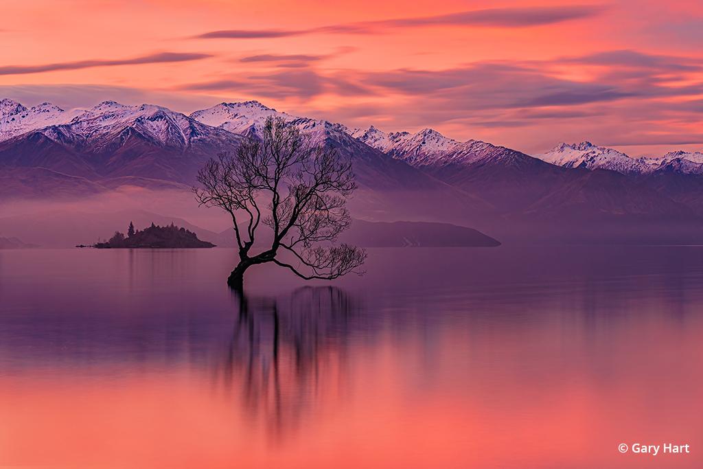 Sunset photograph taken at Lake Wanaka, New Zealand.